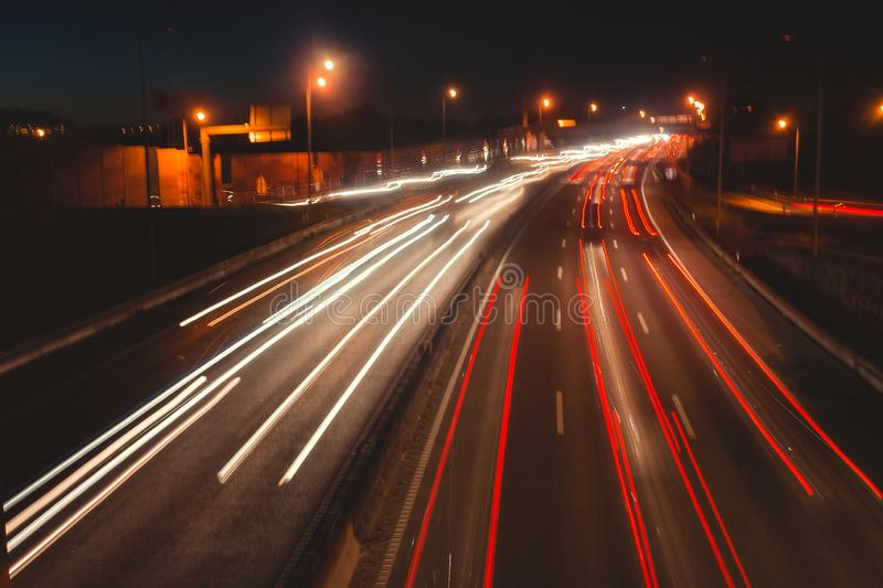 The car light trails on a highway. Sintra, Portugal stock photos