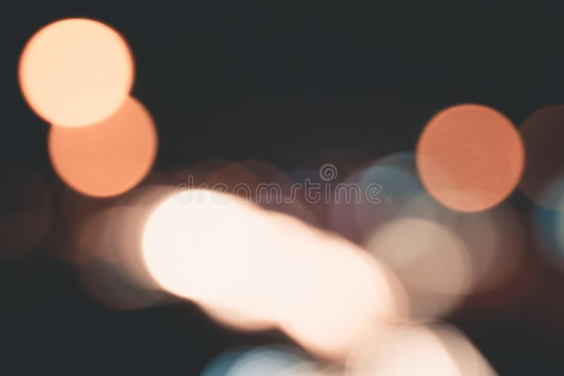 Car light trails on Interstate 75 at night time. Blurs and Bokeh Effect.  Art image. royalty free stock images
