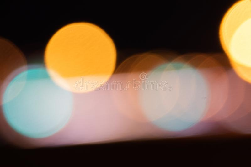 Car light trails on Interstate 75 at night time. Blurs and Bokeh Effect.  Art image. stock photo