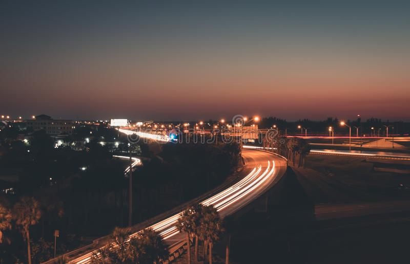 Car light trails on Interstate 75 at night time. Art image. Abstract lights in night time royalty free stock photography
