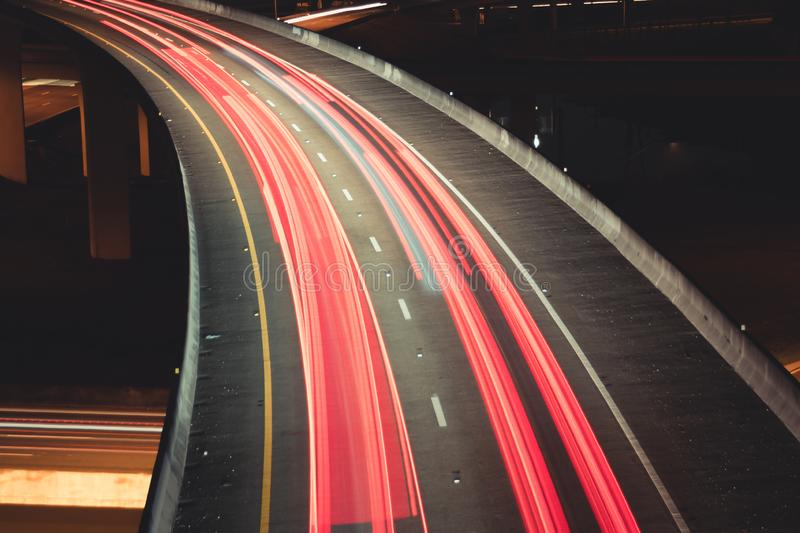 Car light trails on Interstate 75 at night time. Art image. Abstract lights in night time stock photo