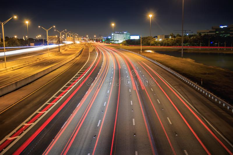 Car light trails with regular weekend traffic on I75 at night time stock images