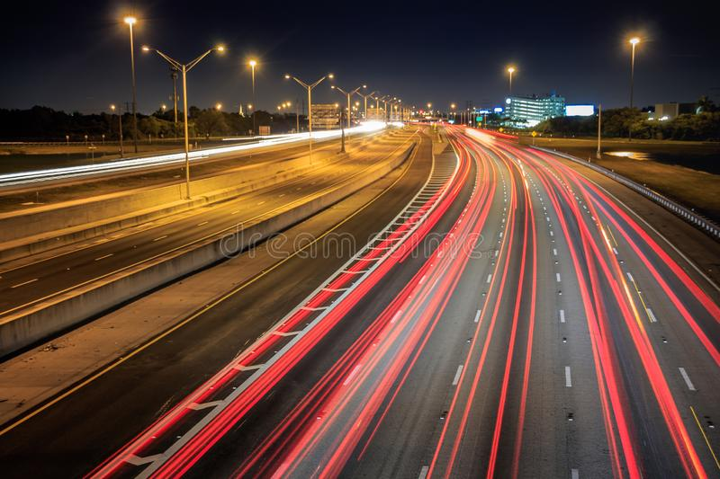Car light trails with regular weekend traffic on I75 at night time. In South Florida royalty free stock photo