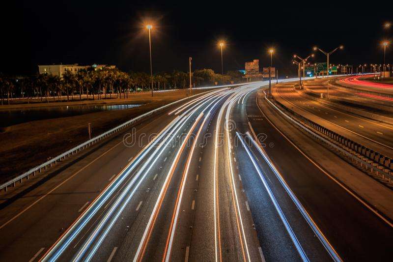 Car light trails with regular weekend traffic on I75 at night time royalty free stock photography