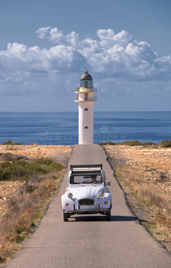 Car and lighthouse. In formentera royalty free stock photos