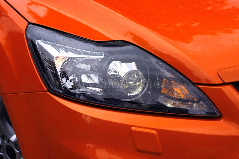 Car Lights with Raindrops stock image