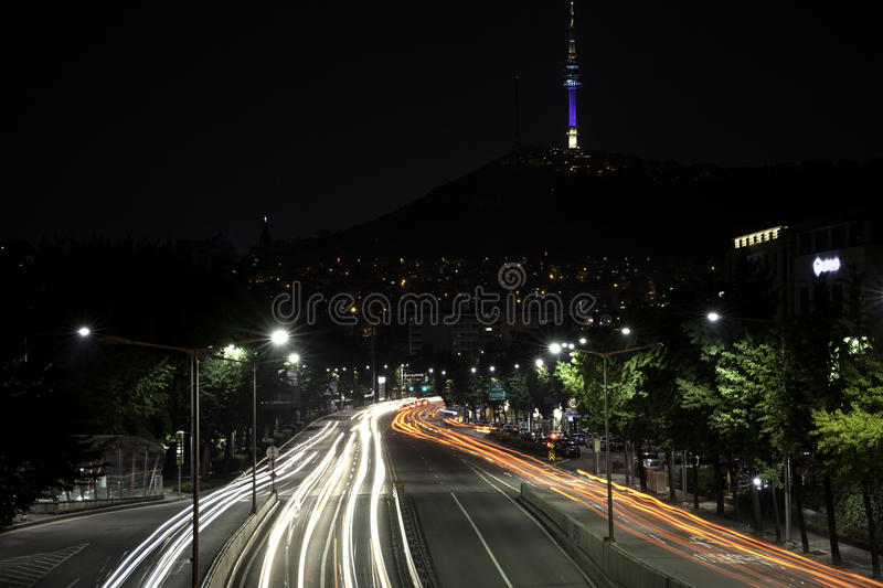 Download Car lights trailing. stock image. Image of dramatic, road - 26455403