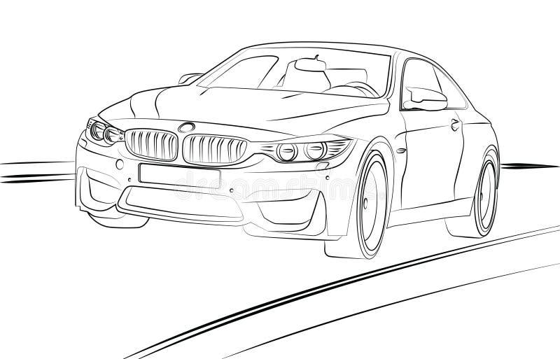 Car Line Art stock illustration