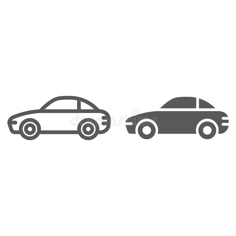 Car line and glyph icon, traffic and vehicle, automobile sign, vector graphics, a linear pattern on a white background. Car line and glyph icon, traffic and stock illustration
