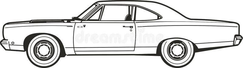 Car2_line_street_art_vector arkivbild