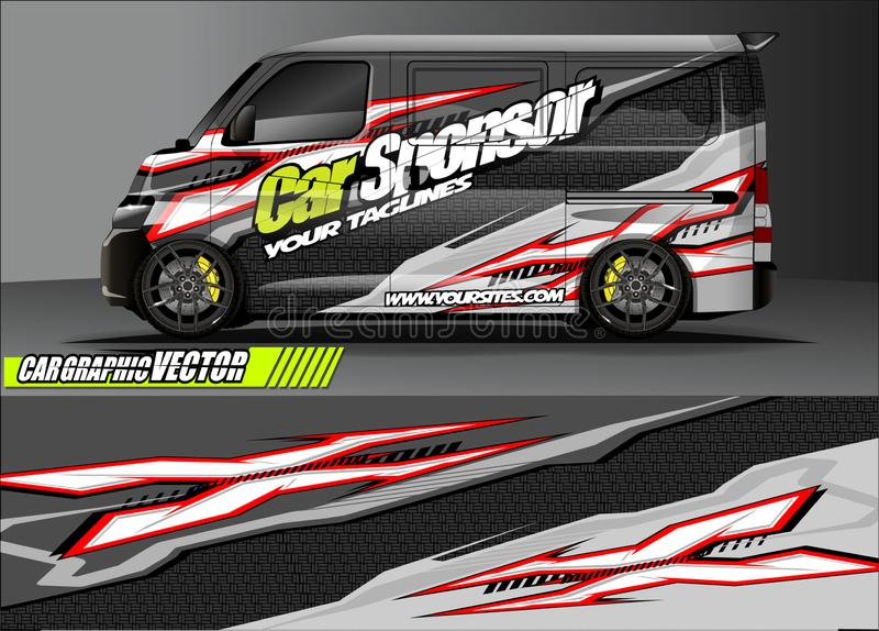 Car livery graphic vector. abstract grunge background design for vehicle vinyl wrap and car branding stock photography