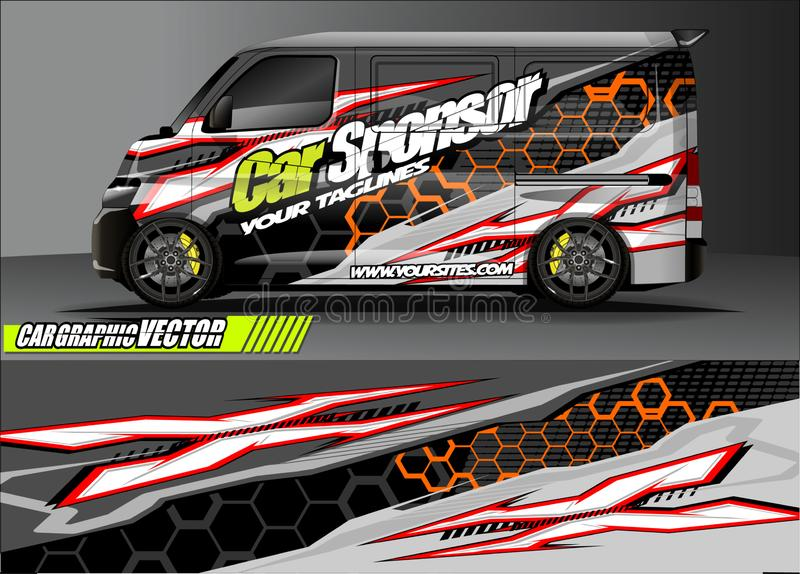 Car livery graphic vector. abstract grunge background design for vehicle vinyl wrap and car branding stock photos