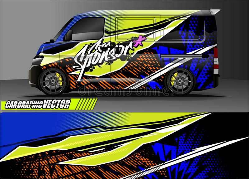 Car livery graphic vector. abstract grunge background design for vehicle vinyl wrap and car branding stock photo