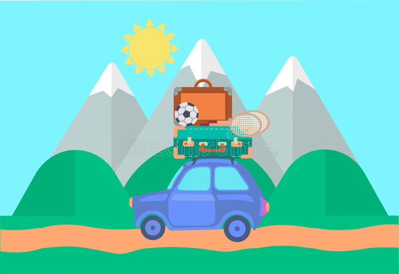 The car in travel The car loaded with suitcases stock illustration