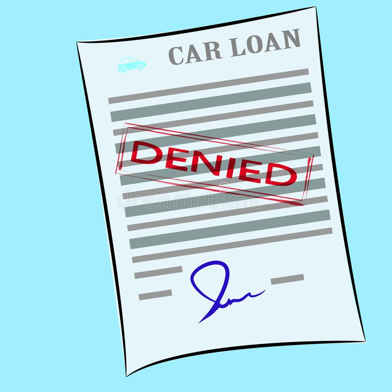 The car loan application form with denied stamp royalty free illustration
