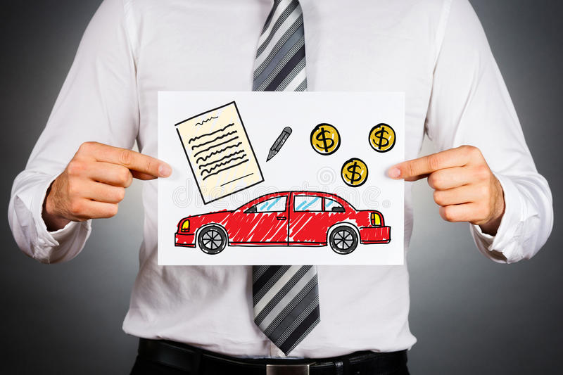 Car loan concept. Businessman holding paper with drawing of a car together with money and contract illustrations stock image