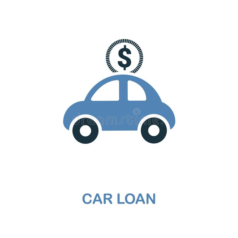 Car Loan icon in two colors design. Pixel perfect symbols from personal finance icon collection. UI and UX. Illustration of car lo. Car Loan creative icon in two stock illustration