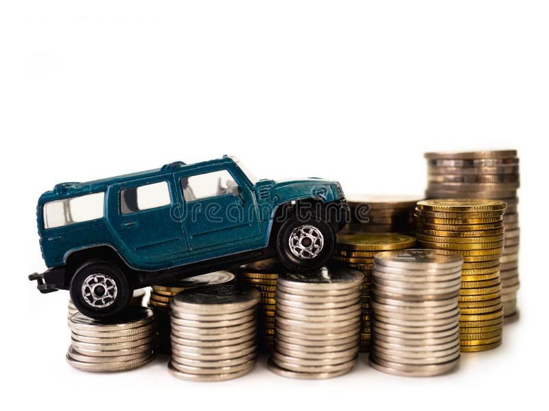 Car loan , money , for loans costs finance concept. Car loan , money , on white background. for loans costs finance concept stock photography