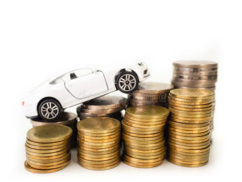 Car loan , money , for loans costs finance concept. Car loan , money , on white background. for loans costs finance concept stock images