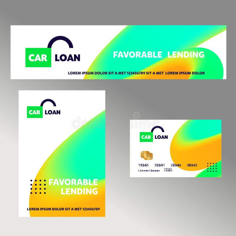 Car loan. Template financial sign, logo, badge with open lock. Concept banner, flyer for corporate identity credit business, agenc vector illustration