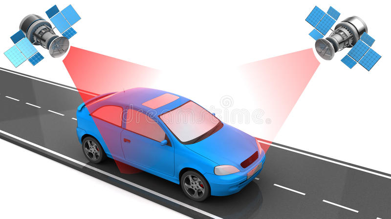 Car location tracking. 3d illustration of car location tracking with satellites royalty free stock photography