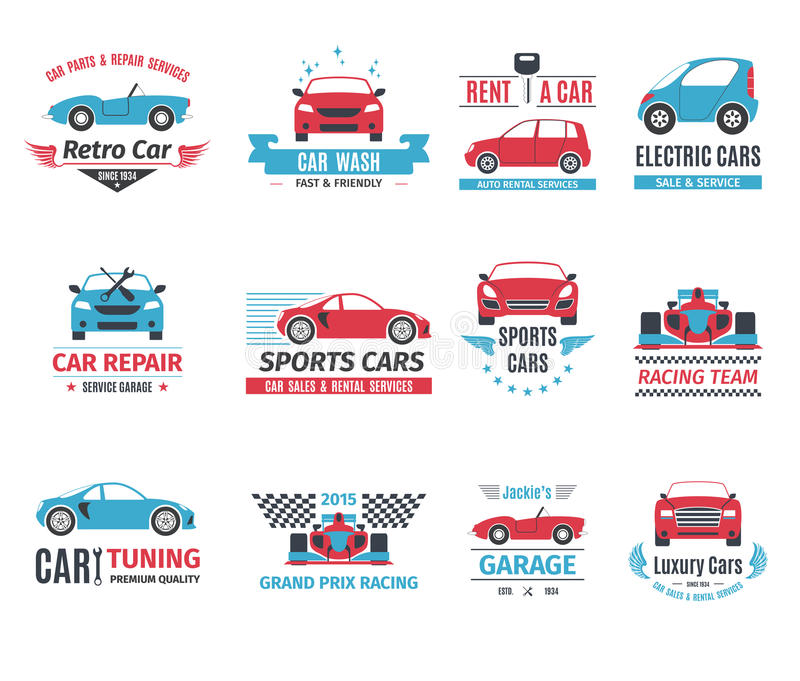 Car Logo Set. Car repair service rent and wash logo set isolated vector illustration stock illustration