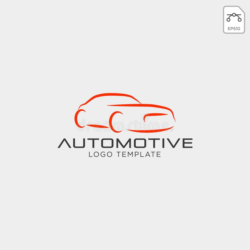 Car logo in simple line graphic design template vector - Vector vector illustration