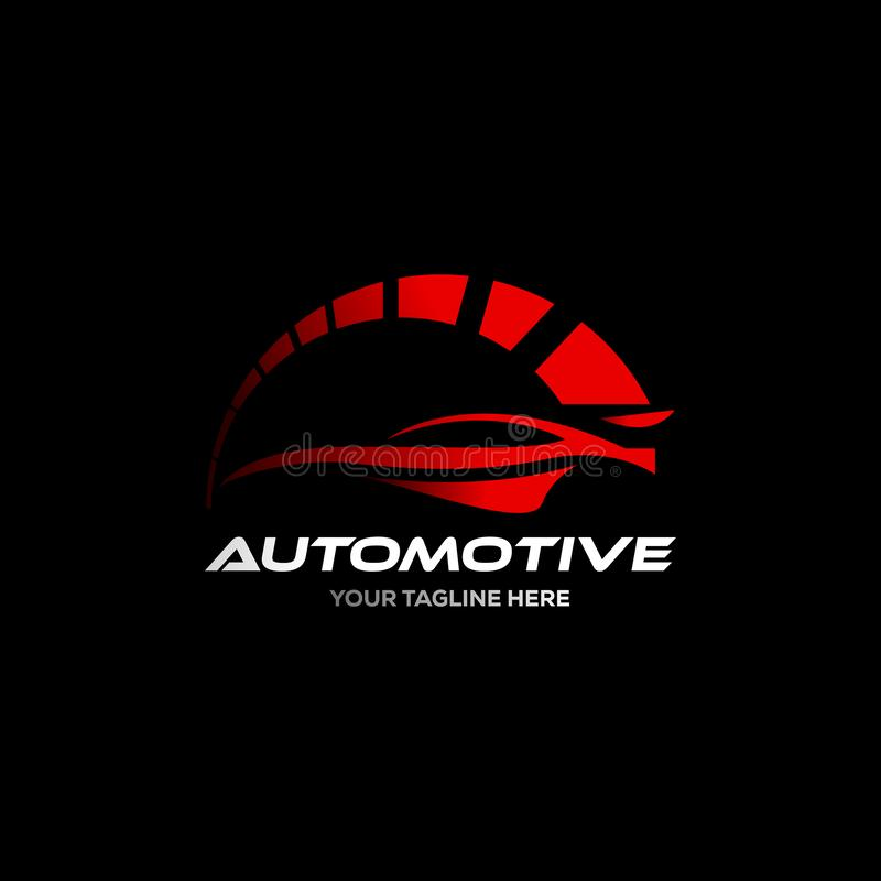 Car logo in simple line graphic design template vector. Automotive logo with speed icon royalty free illustration