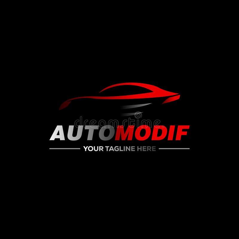 Car logo in simple line graphic design template vector stock illustration