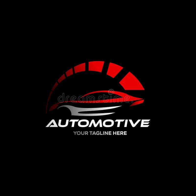 Car logo in simple line graphic design template vector royalty free illustration
