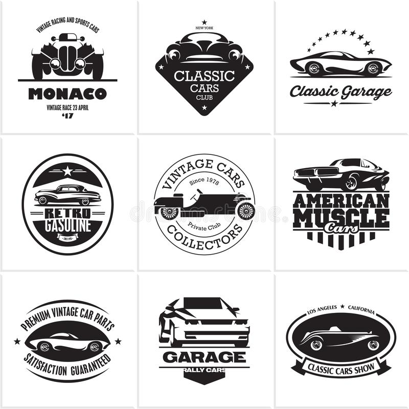 Car logos, retro style vevtor labels stock illustration