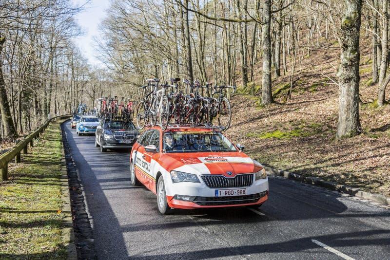 The Car of Lotto-Soudal Team - Paris-Nice 2017 royalty free stock photos