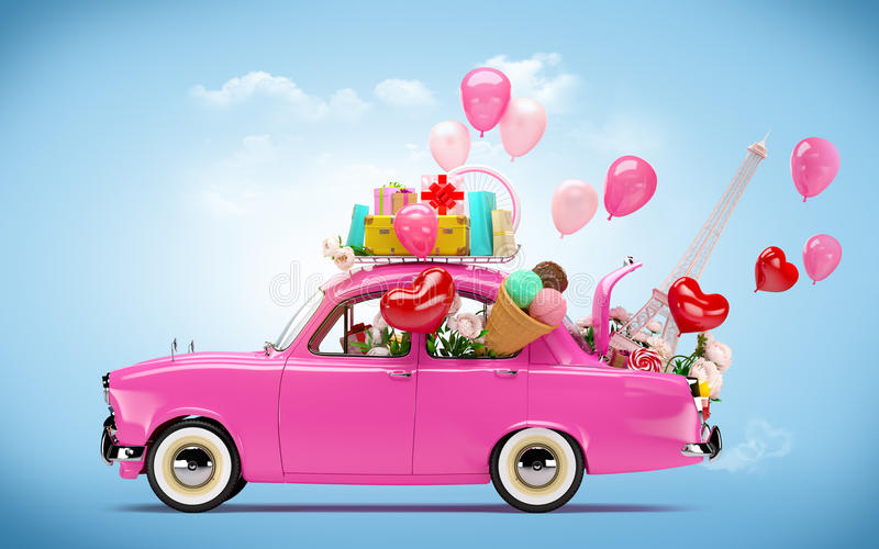 Car of love. Pink car with symbols of love stock photography
