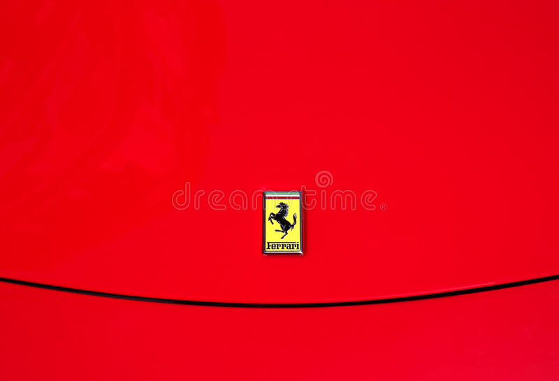 Car and luxury. Ferrari logo stock photos
