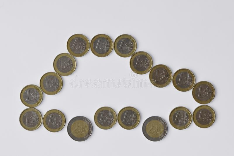 Car made of euro coins on white background - Concept of car insurance, car purchase royalty free stock photo