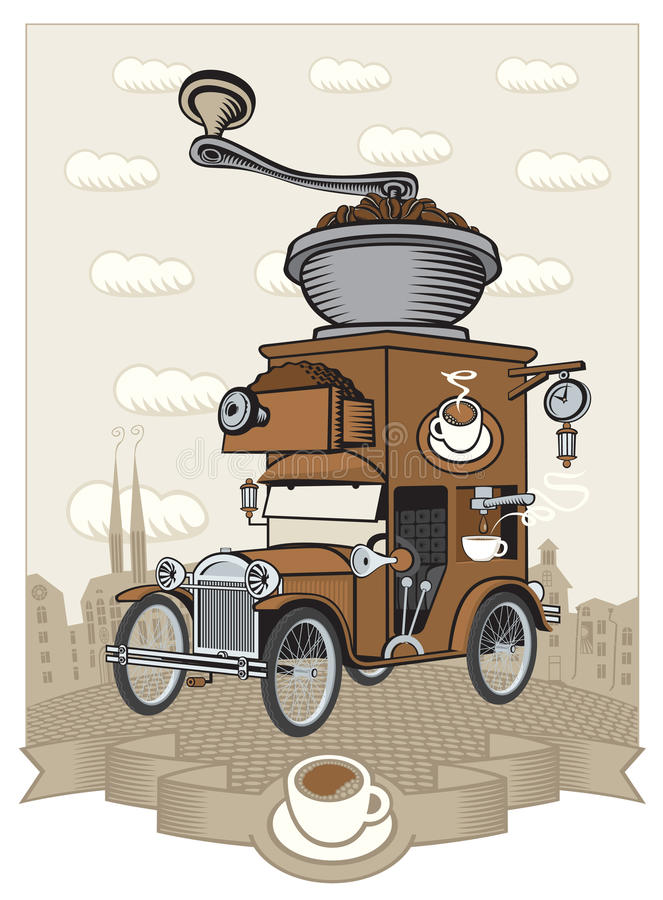 Car maker. Coffee maker on wheels in the form of an old car vector illustration