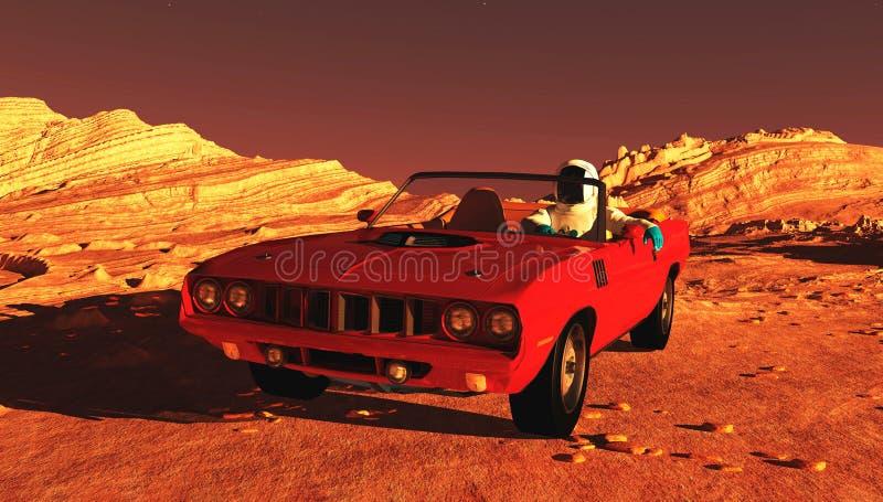 The car on Mars. The car image on Mars 3D illustration