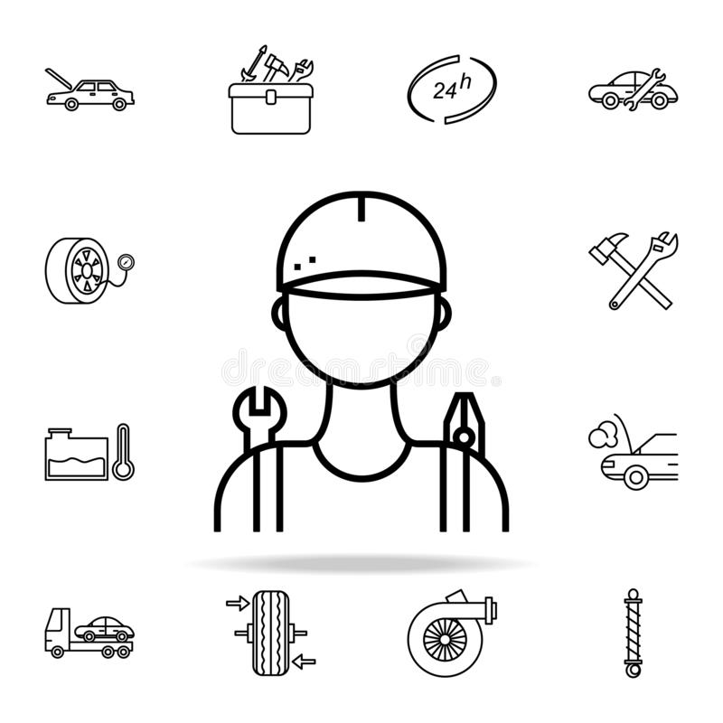 car mechanic icon. Cars service and repair parts icons universal set for web and mobile royalty free illustration