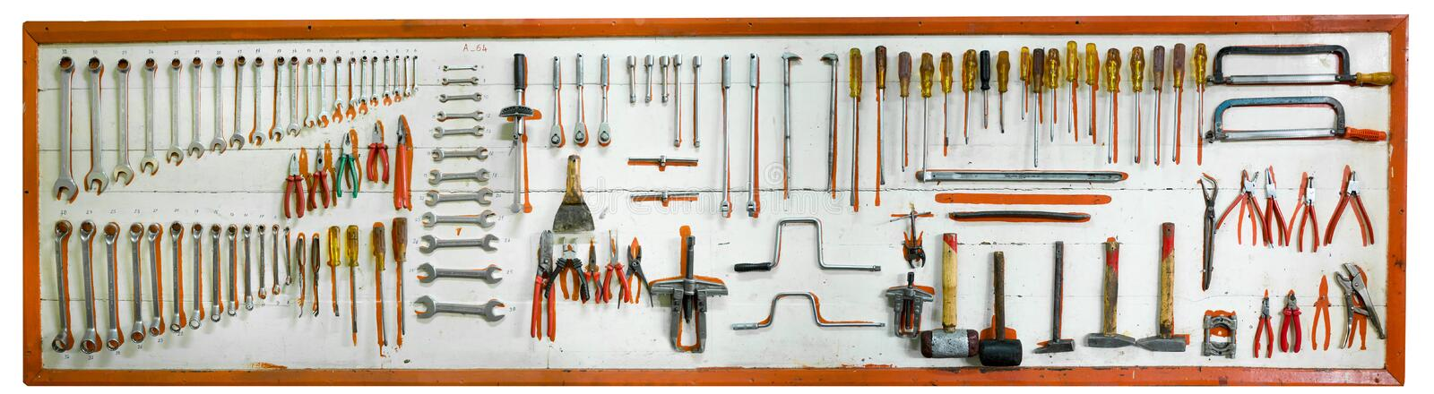 Car mechanic tools. On a wall royalty free stock photography