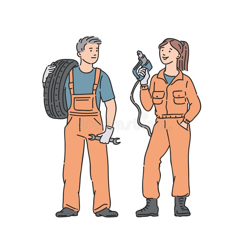 Car mechanic woman and man in professional jumpsuit. Vector people illustration in line art style on white background. royalty free illustration