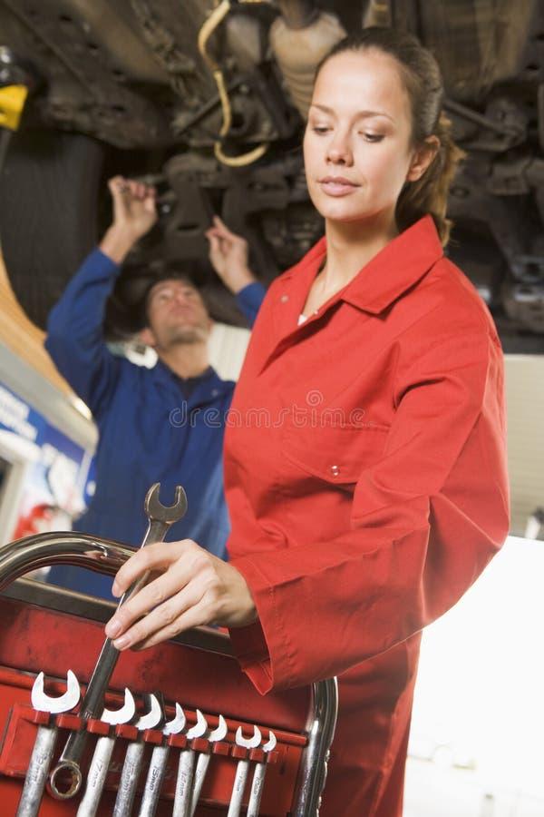 car mechanics two under working στοκ εικόνες