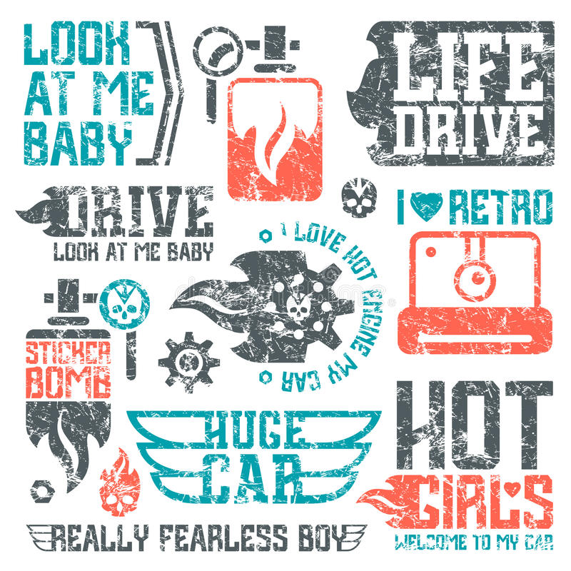 Car and military masculine badges. Graphic design elements with shabby texture for t-shirt. Color print on white background vector illustration