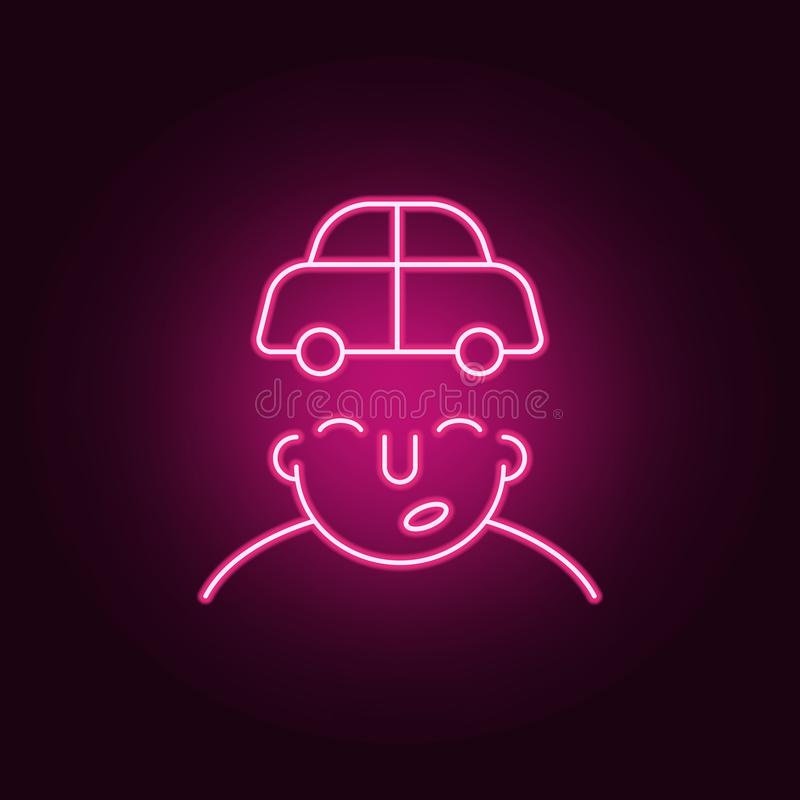 car on mind icon. Elements of What is in your mind in neon style icons. Simple icon for websites, web design, mobile app, info royalty free illustration