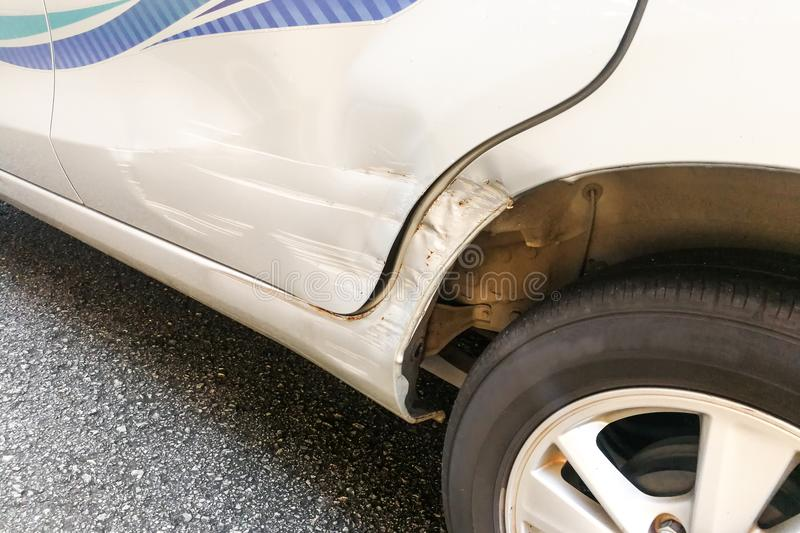 Car with minor dent and scratch due to accident royalty free stock images