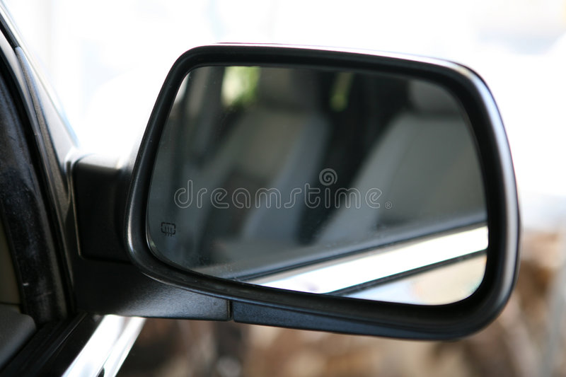 Car mirror. Rare view in the car mirror stock images