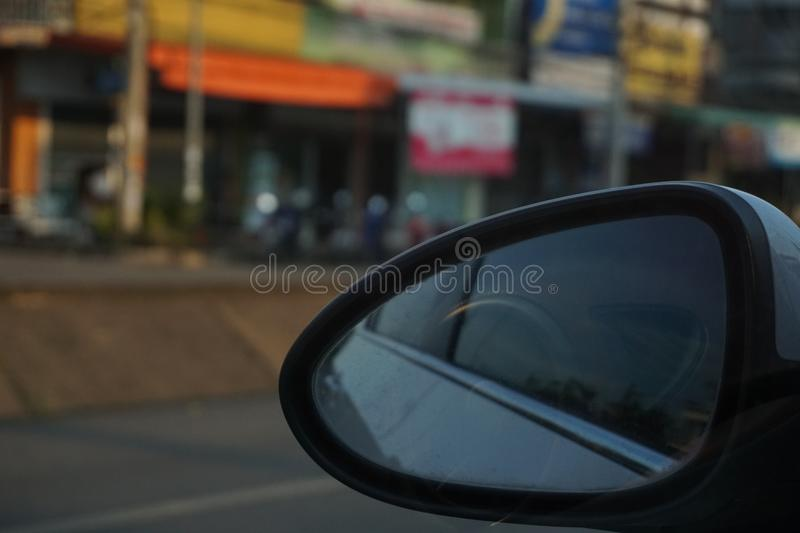 Car mirror when traveling. royalty free stock photo