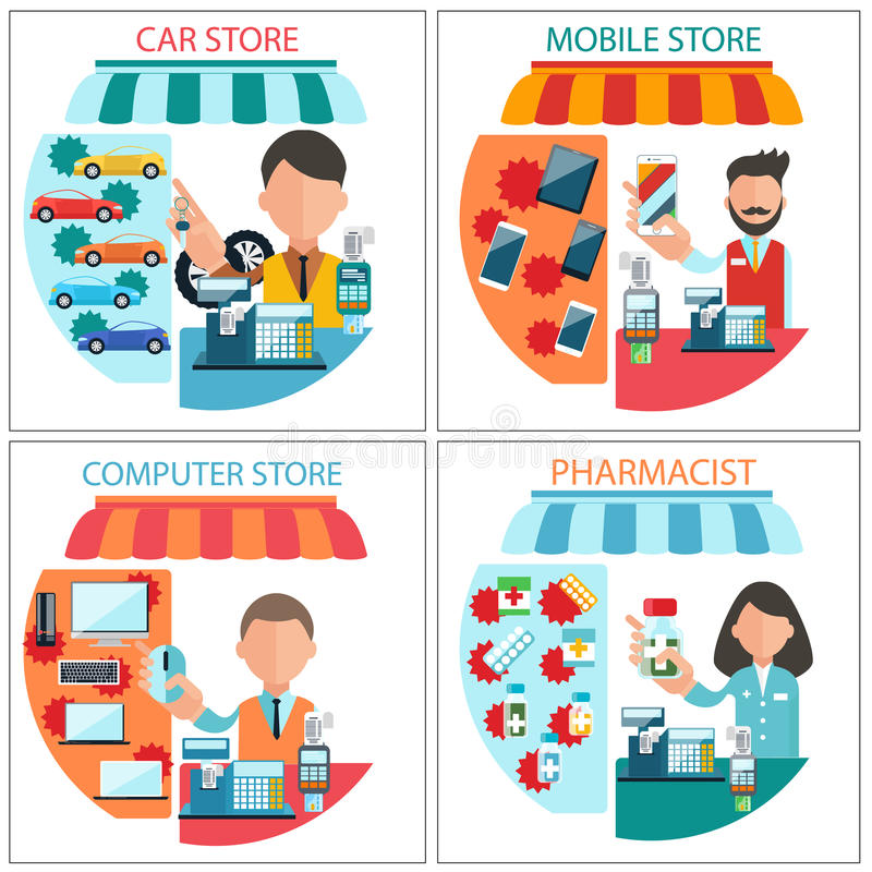 Car, mobile, pharmacist and computer store stock illustration