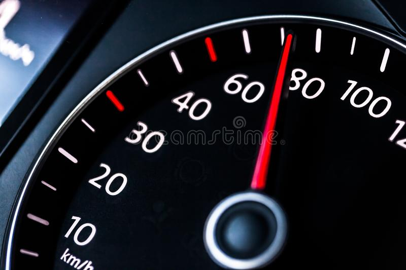 Modern car speedometer. Close up shot of the royalty free stock photo