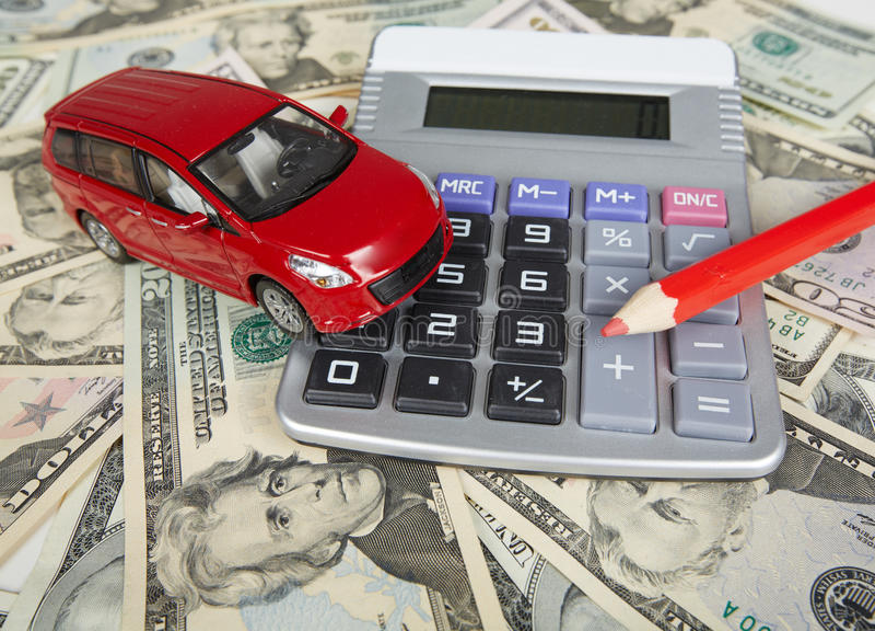 Car money and calculator. royalty free stock photos