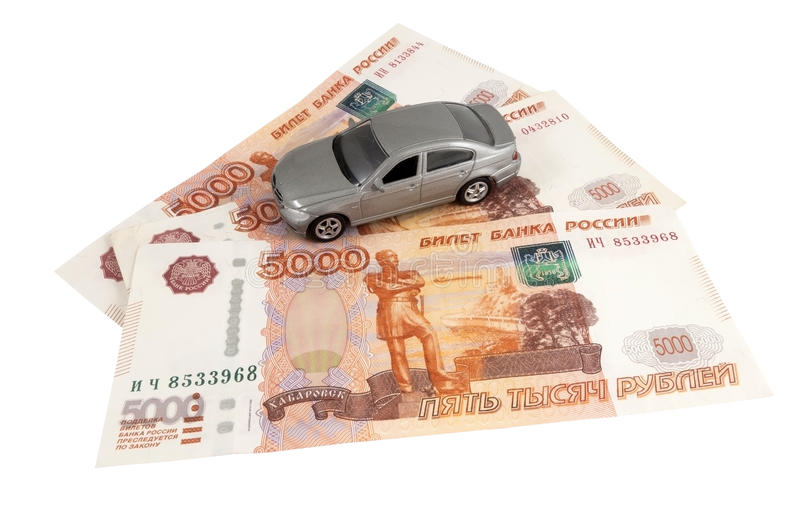 Car on money cash. On white background royalty free stock photo
